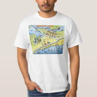 Galveston Texas Cartoon Map Tee Shirt