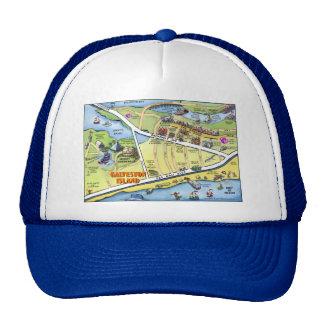 Galveston Texas Cartoon Map Trucker Hat