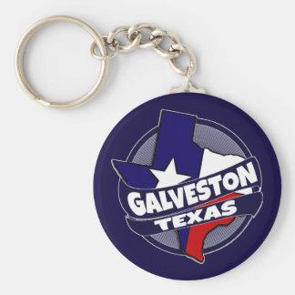 Galveston Texas flag burst keychain