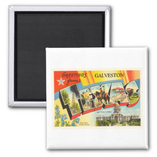 Galveston Texas TX Old Vintage Travel Souvenir 2 Inch Square Magnet