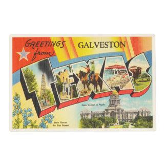 Galveston Texas TX Old Vintage Travel Souvenir Placemat