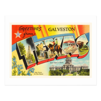Galveston Texas TX Old Vintage Travel Souvenir Postcard