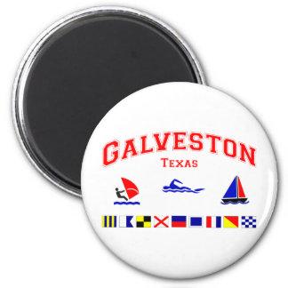 Galveston TX Signal Flags 2 Inch Round Magnet
