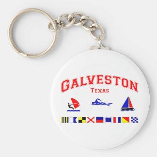 Galveston TX Signal Flags Basic Round Button Keychain