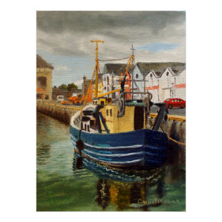 Galway City Commercial Boat Landscape Oil Painting Poster