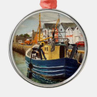 Galway City Commercial Boat Oil Painting Metal Ornament