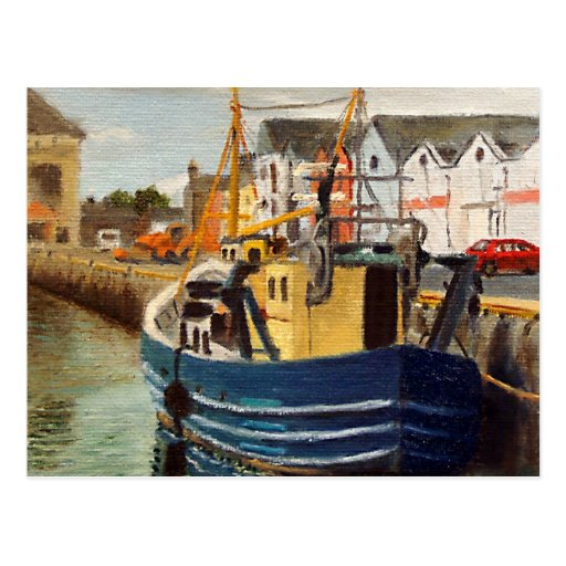 Galway City Commercial Boat Oil Painting Post Card