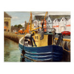 Galway City Commercial Boat Oil Painting Postcard