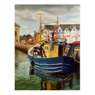 Galway City Commercial Boat Waterscape Painting Postcard