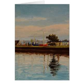 Galway City Harbor Impressionistic Oil Painting Card