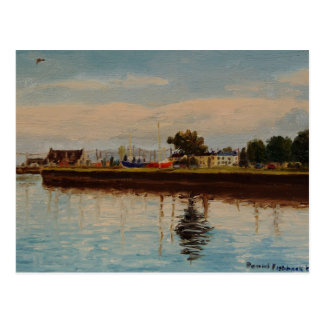 Galway City Harbor Impressionistic Oil Painting Postcard