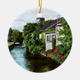 Galway City Ireland Impressionistic Watercolor Pai Ceramic Ornament