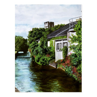 Galway City Ireland Watercolor Painting Postcard