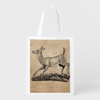 gama de los ciervos de la arpillera rústica bolsas reutilizables