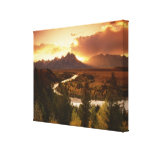 Gama de Teton en la puesta del sol, del río Snake Impresión En Lona Estirada