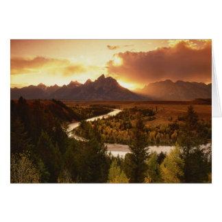 Gama de Teton en la puesta del sol, del río Snake Tarjetón