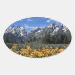 Gama de Teton magnífica nevada con las flores Pegatina Ovalada