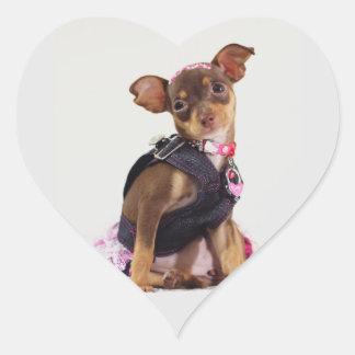gama del perro de la chihuahua pegatina en forma de corazón