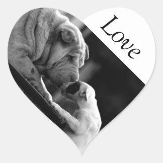 Gama Duo de animales Pegatina En Forma De Corazón