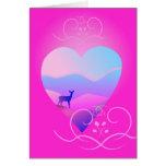 gama en forma del amor y paisaje y rosa tarjeta de felicitación