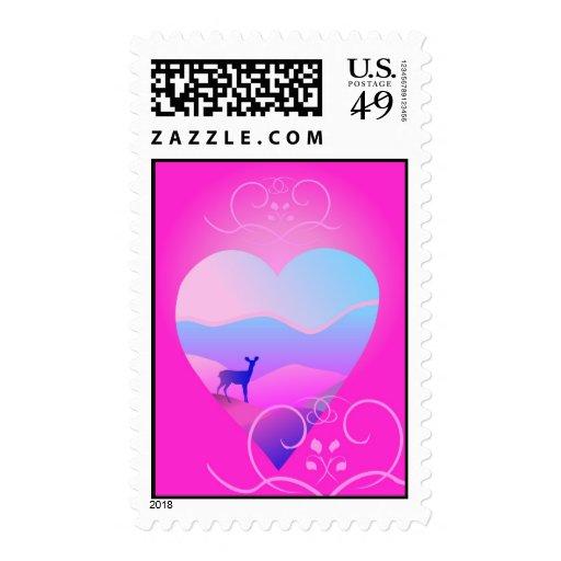 gama en forma rosada del amor sellos