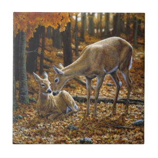 Gama y cervatillo del Whitetail del otoño Azulejo Cuadrado Pequeño
