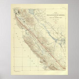 Gamas de costa que muestran la grieta de San Andre Posters