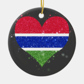 Gambia Flag Shining Unique Double-Sided Ceramic Round Christmas Ornament