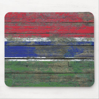 Gambian Flag on Rough Wood Boards Effect Mouse Pad