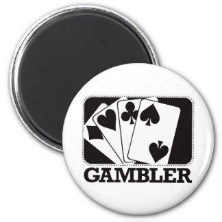 Gambler - Black 2 Inch Round Magnet
