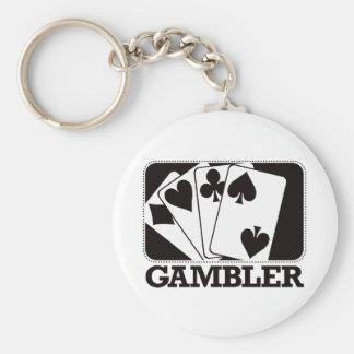 Gambler - Black Basic Round Button Keychain