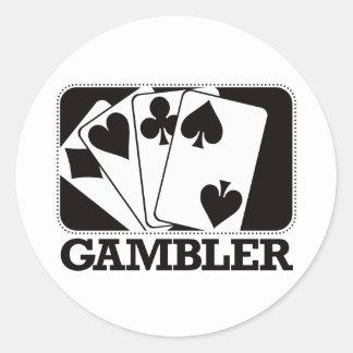 Gambler - Black Classic Round Sticker