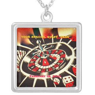 Gambler Casino Silver Plated Necklace