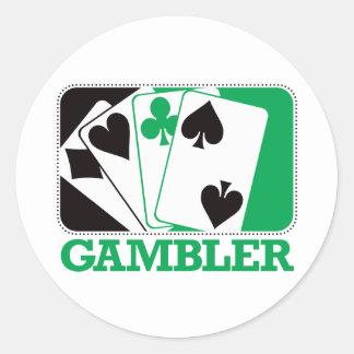 Gambler - Green Classic Round Sticker