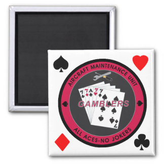 Gambler Magnet Coin Red with Suits