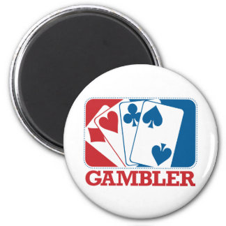 Gambler - Red and Blue 2 Inch Round Magnet