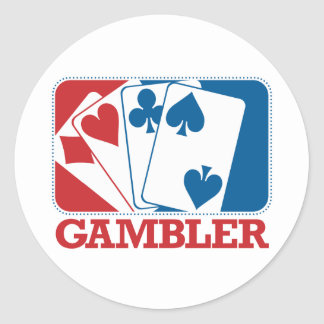 Gambler - Red and Blue Classic Round Sticker