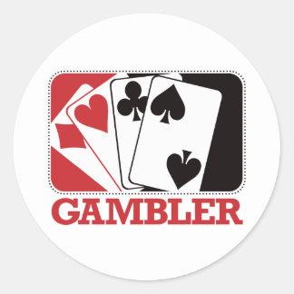 Gambler - Red Classic Round Sticker