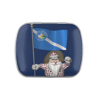 Gambler Santa Claus With Ensign Of Las Vegas Candy Tins