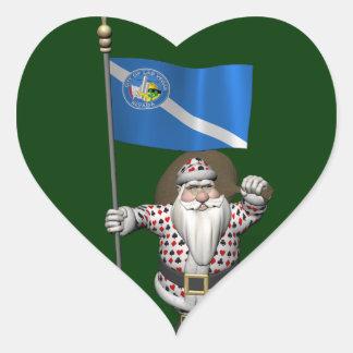 Gambler Santa Claus With Ensign Of Las Vegas Heart Sticker