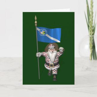 Gambler Santa Claus With Ensign Of Las Vegas Holiday Card