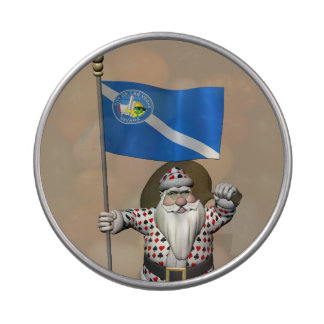 Gambler Santa Claus With Ensign Of Las Vegas Jelly Belly Candy Tin
