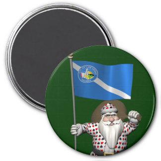 Gambler Santa Claus With Ensign Of Las Vegas Magnet