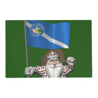 Gambler Santa Claus With Ensign Of Las Vegas Placemat