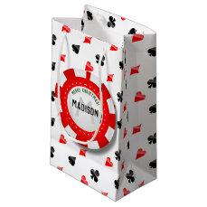 Gambler's Christmas Monogrammed Poker Chip Small Gift Bag