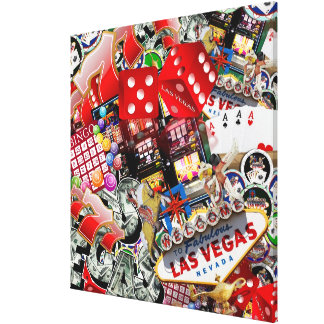Gamblers Delight - Las Vegas Icons Background Gallery Wrap Canvas
