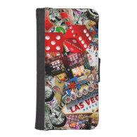 Gamblers Delight - Las Vegas Icons Background Phone Wallet Cases
