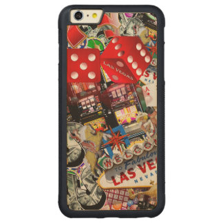 Gamblers Delight - Las Vegas Icons Background Carved® Maple iPhone 6 Plus Bumper