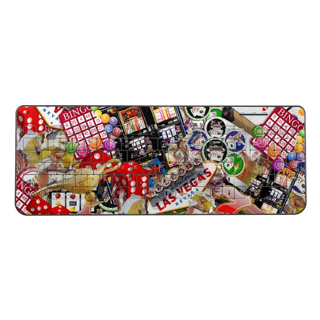 Gamblers Delight - Las Vegas Icons Collage Wireless Keyboard