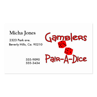 Gamblers Pair A Dice Business Card Template
